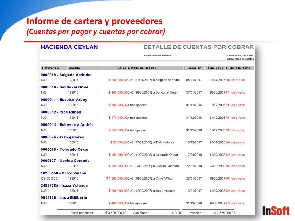 Informe de cartera y proveedores
