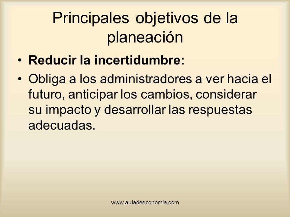 Principales objetivos de la planeación