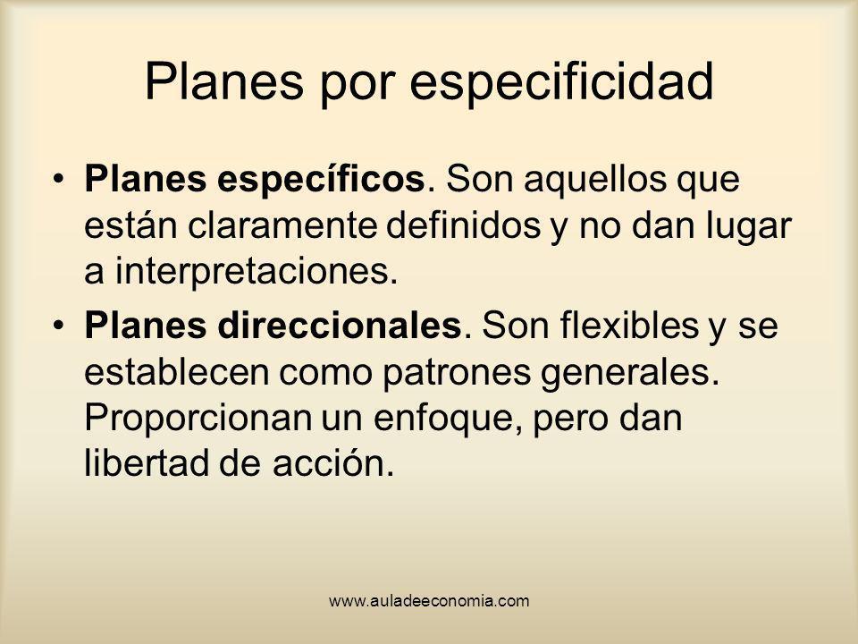 Planes por especificidad