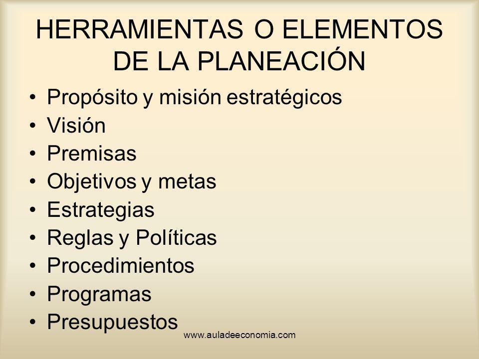 HERRAMIENTAS O ELEMENTOS DE LA PLANEACIÓN