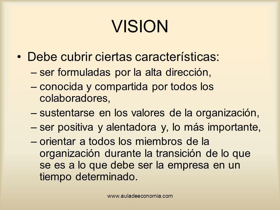 VISION Debe cubrir ciertas características: