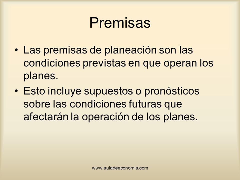Premisas Las premisas de planeación son las condiciones previstas en que operan los planes.
