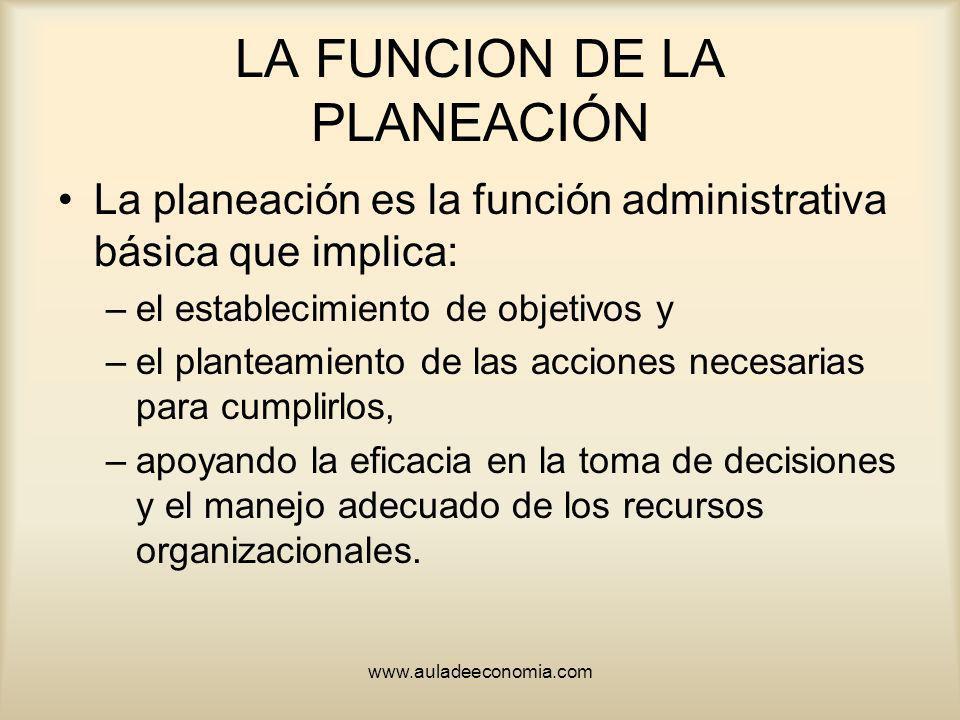 LA FUNCION DE LA PLANEACIÓN