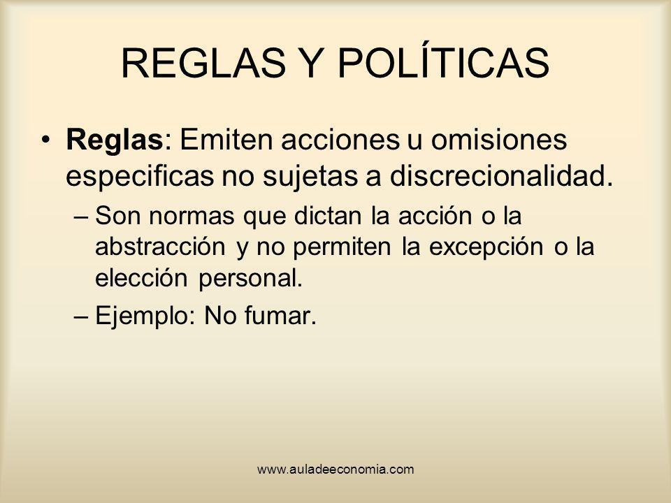 REGLAS Y POLÍTICAS Reglas: Emiten acciones u omisiones especificas no sujetas a discrecionalidad.