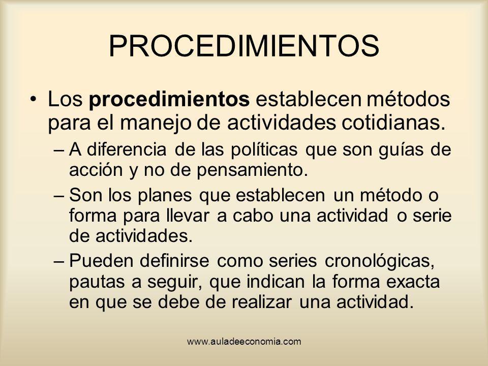 PROCEDIMIENTOS Los procedimientos establecen métodos para el manejo de actividades cotidianas.