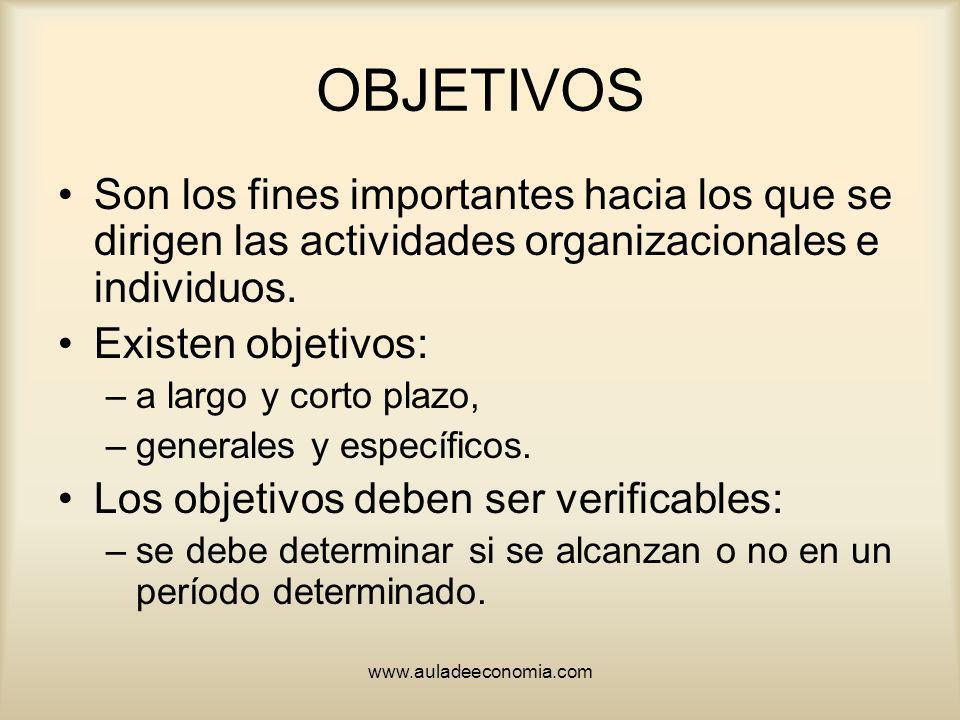 OBJETIVOS Son los fines importantes hacia los que se dirigen las actividades organizacionales e individuos.