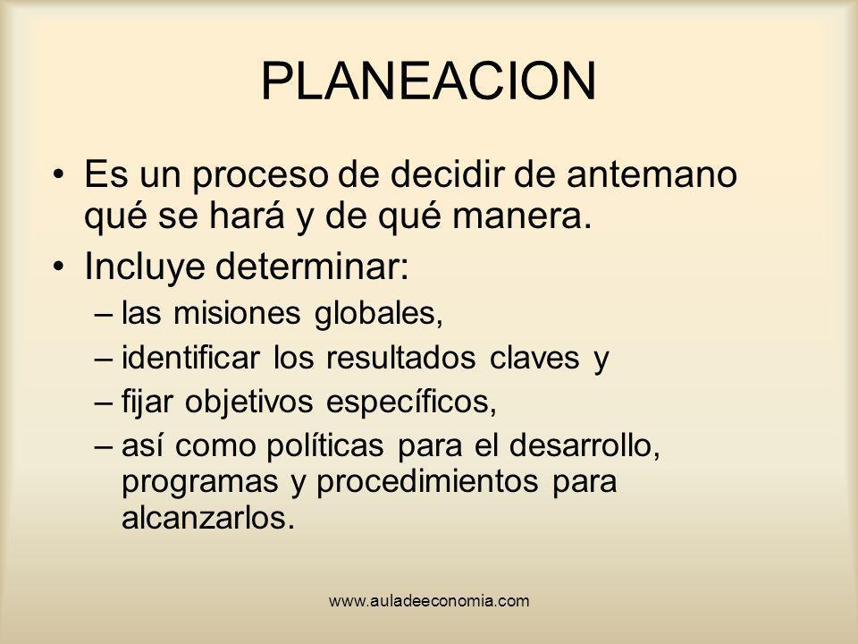 PLANEACION Es un proceso de decidir de antemano qué se hará y de qué manera. Incluye determinar: las misiones globales,