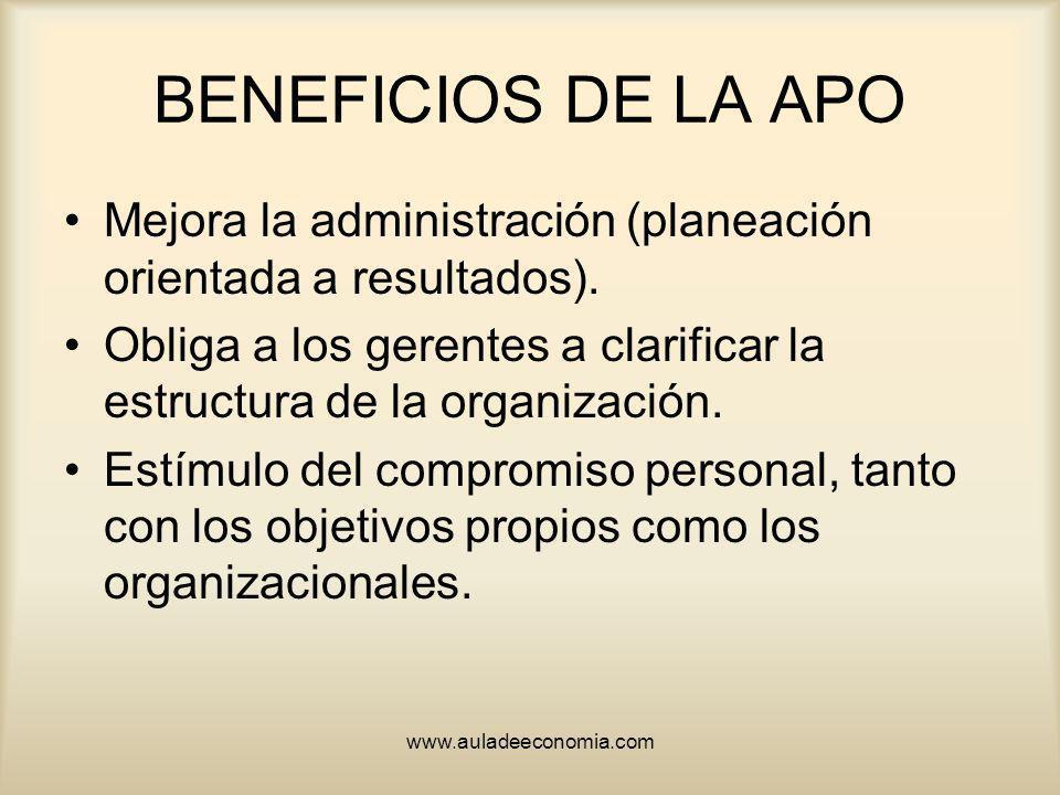 BENEFICIOS DE LA APO Mejora la administración (planeación orientada a resultados).