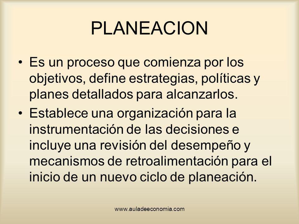 PLANEACION Es un proceso que comienza por los objetivos, define estrategias, políticas y planes detallados para alcanzarlos.