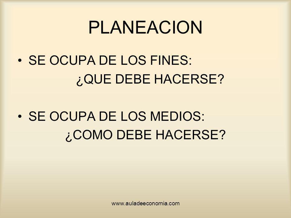 PLANEACION SE OCUPA DE LOS FINES: ¿QUE DEBE HACERSE