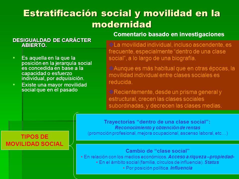 Estratificación social y movilidad en la modernidad
