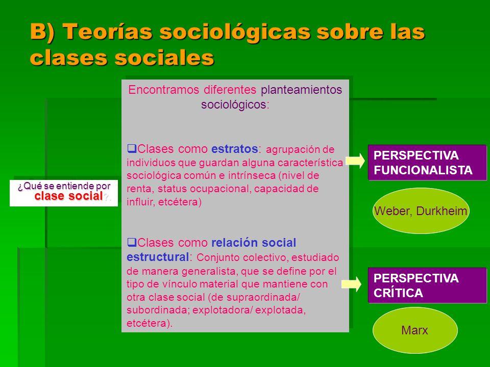 B) Teorías sociológicas sobre las clases sociales