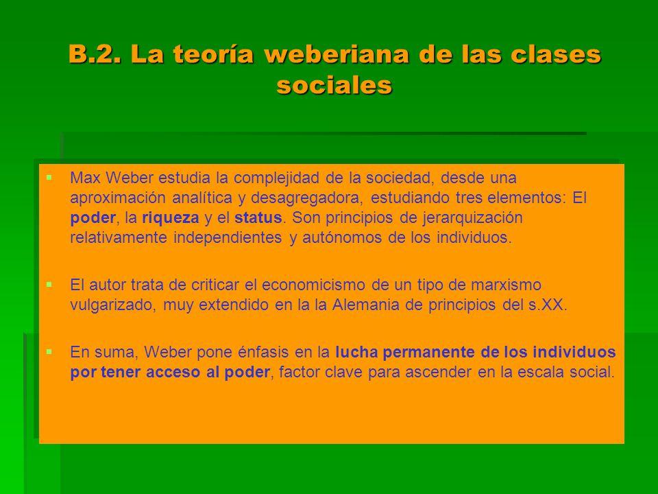 B.2. La teoría weberiana de las clases sociales