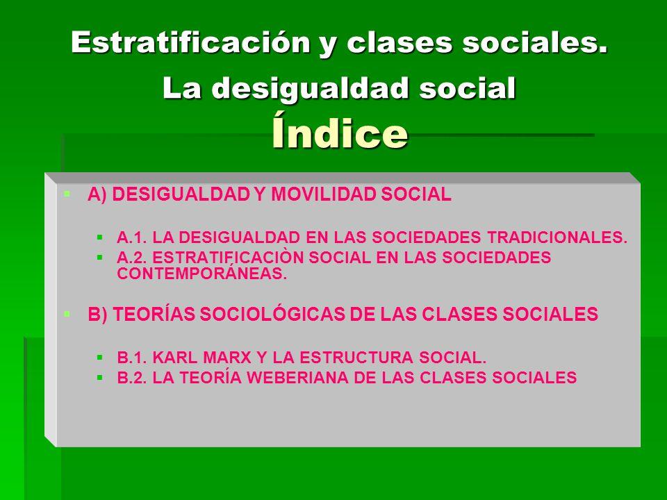 Estratificación y clases sociales. La desigualdad social Índice