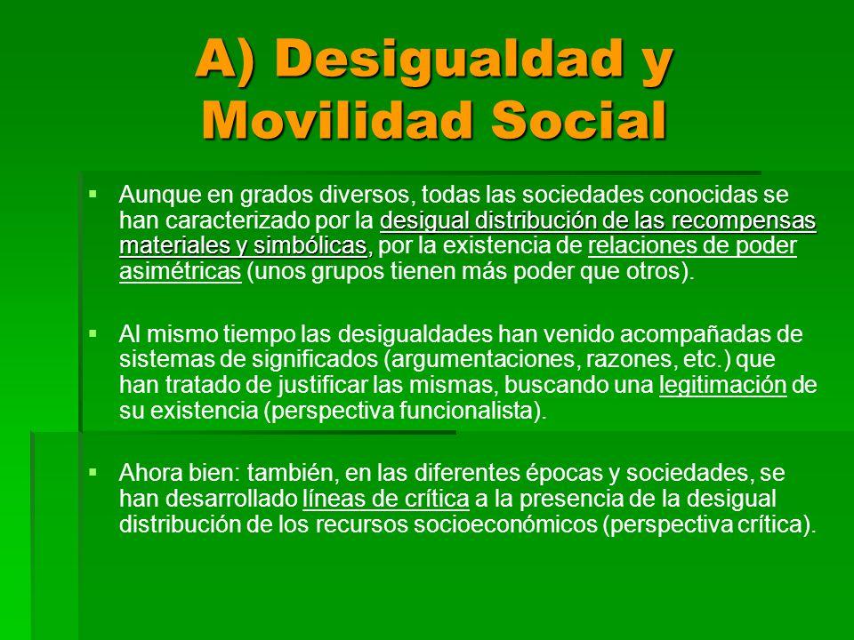 A) Desigualdad y Movilidad Social