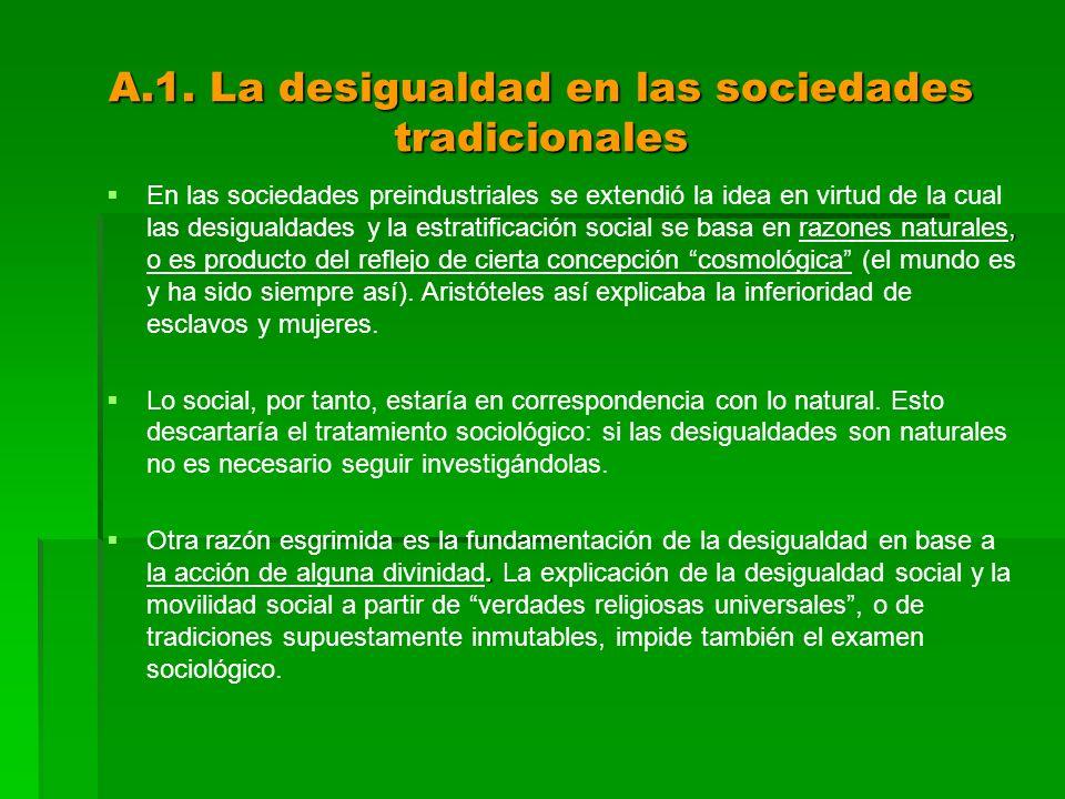 A.1. La desigualdad en las sociedades tradicionales