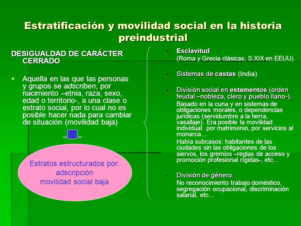 Estratificación y movilidad social en la historia preindustrial