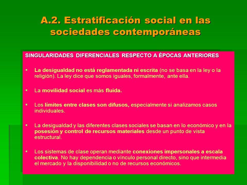 A.2. Estratificación social en las sociedades contemporáneas