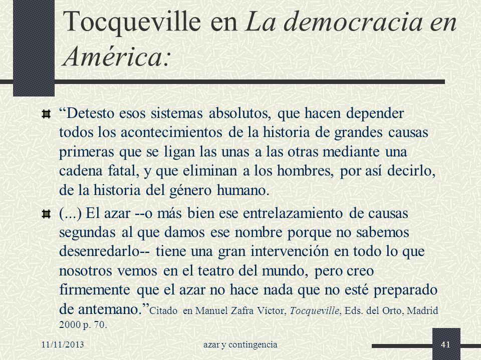 Tocqueville en La democracia en América: