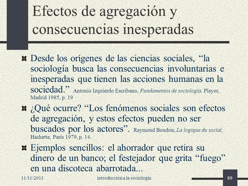 Efectos de agregación y consecuencias inesperadas