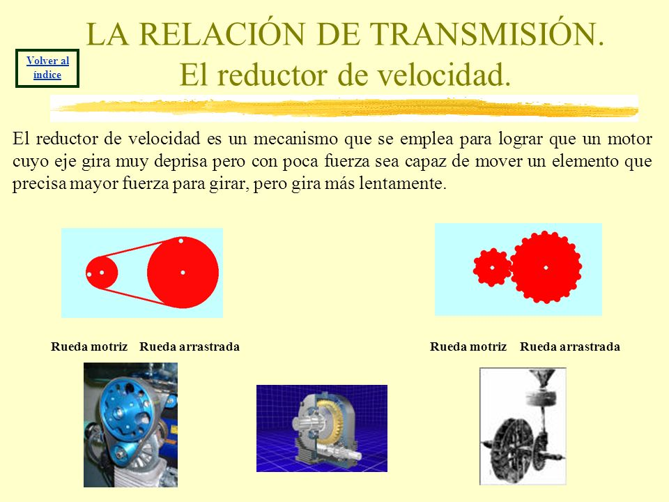 LA RELACIÓN DE TRANSMISIÓN. El reductor de velocidad.