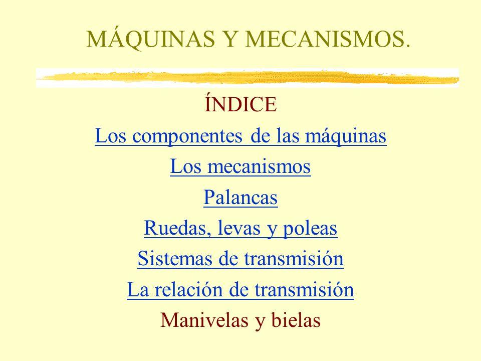 MÁQUINAS Y MECANISMOS. ÍNDICE Los componentes de las máquinas