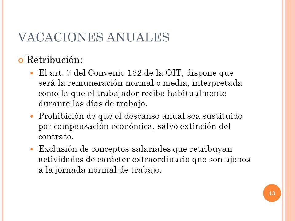 VACACIONES ANUALES Retribución: