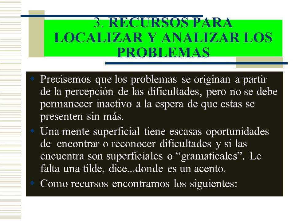 3. RECURSOS PARA LOCALIZAR Y ANALIZAR LOS PROBLEMAS