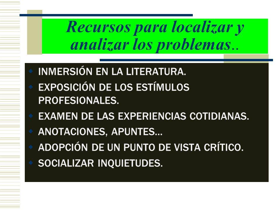 Recursos para localizar y analizar los problemas..