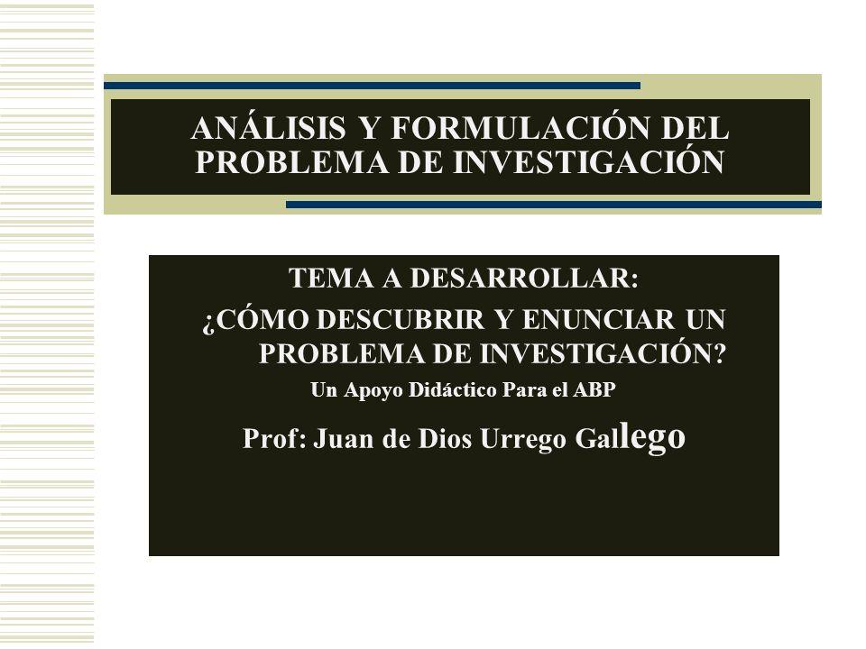ANÁLISIS Y FORMULACIÓN DEL PROBLEMA DE INVESTIGACIÓN