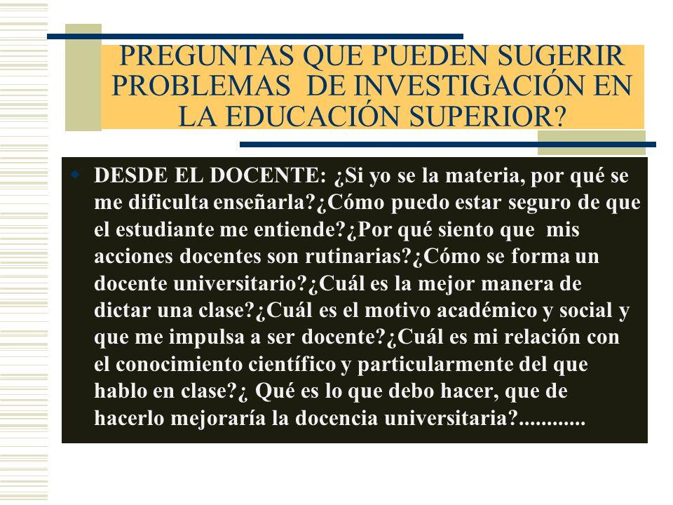 PREGUNTAS QUE PUEDEN SUGERIR PROBLEMAS DE INVESTIGACIÓN EN LA EDUCACIÓN SUPERIOR