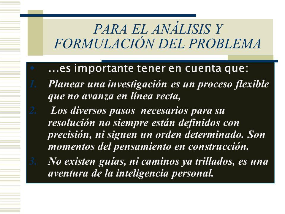 PARA EL ANÁLISIS Y FORMULACIÓN DEL PROBLEMA