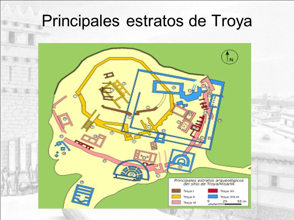 Principales estratos de Troya