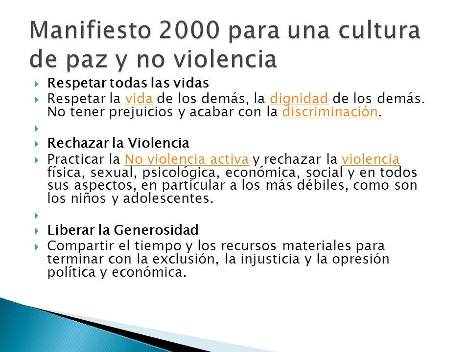 Manifiesto 2000 para una cultura de paz y no violencia