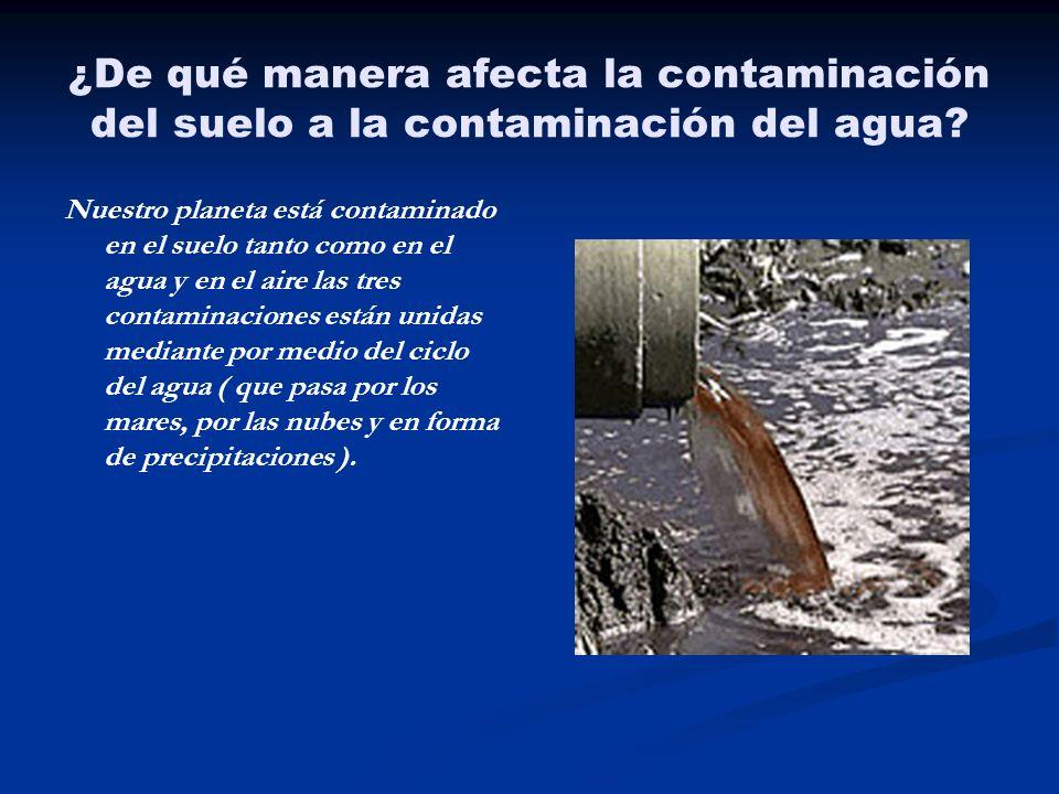 ¿De qué manera afecta la contaminación del suelo a la contaminación del agua
