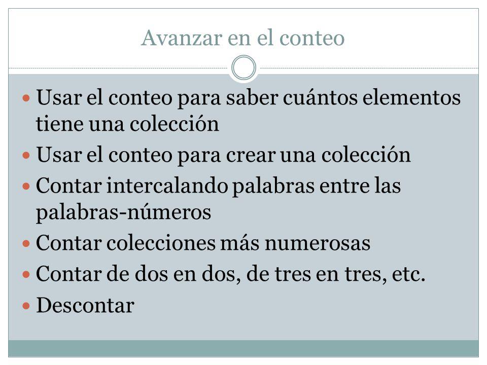 Avanzar en el conteo Usar el conteo para saber cuántos elementos tiene una colección. Usar el conteo para crear una colección.