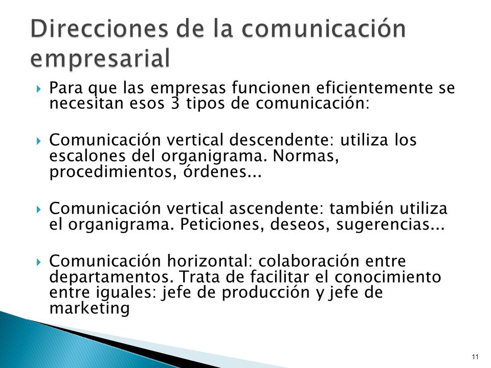 Direcciones de la comunicación empresarial