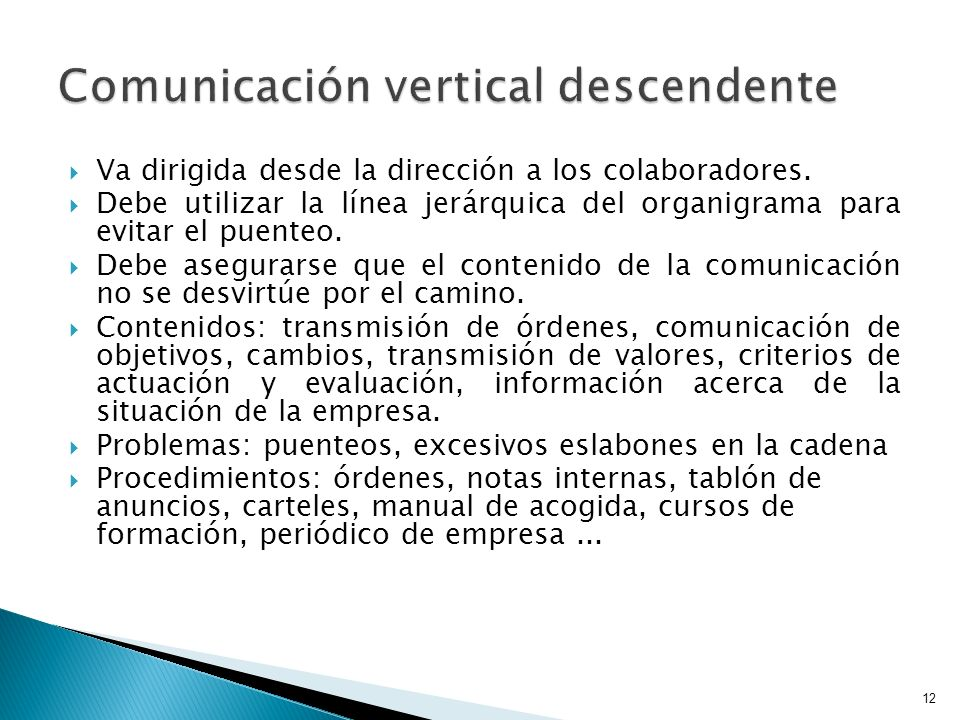 Comunicación vertical descendente