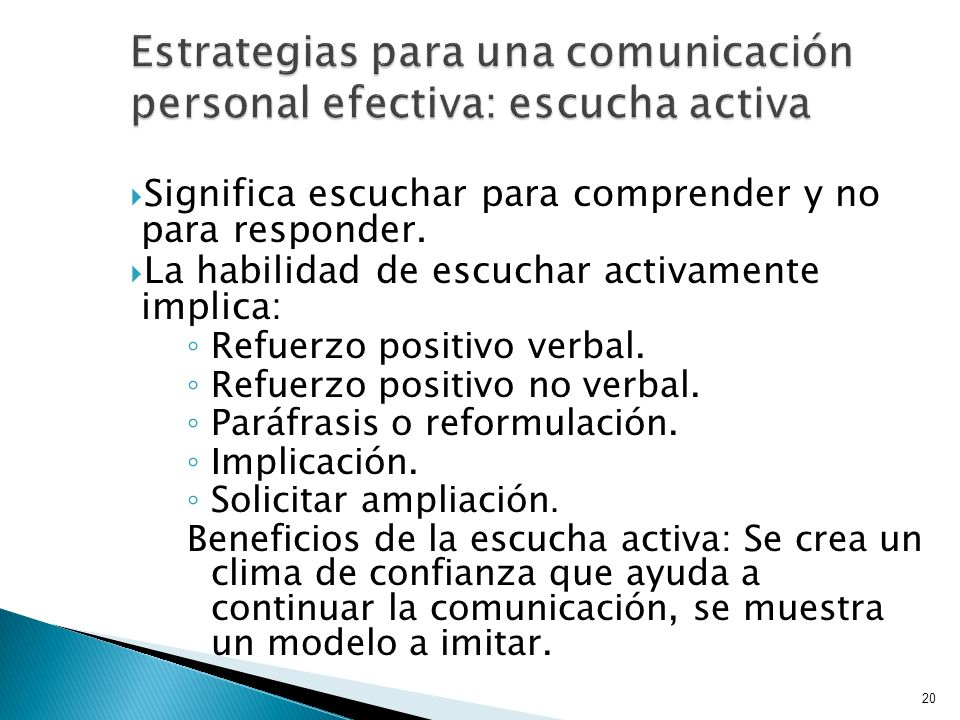 Estrategias para una comunicación personal efectiva: escucha activa