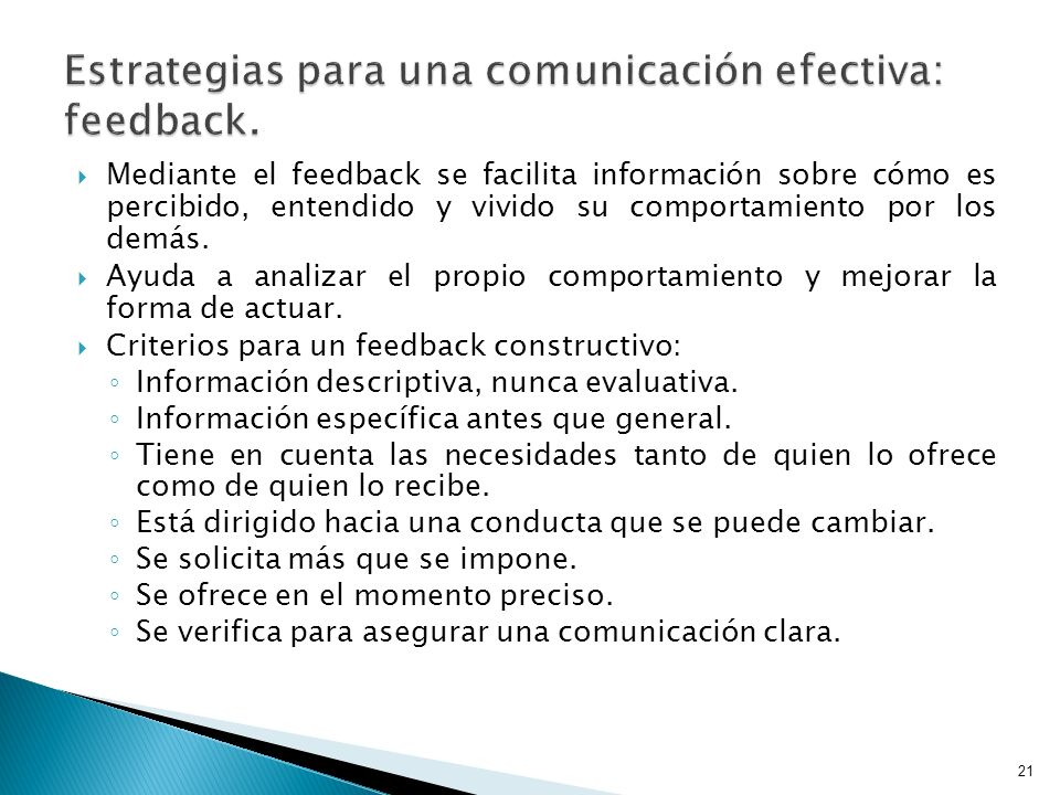 Estrategias para una comunicación efectiva: feedback.