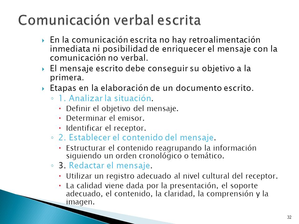 Comunicación verbal escrita