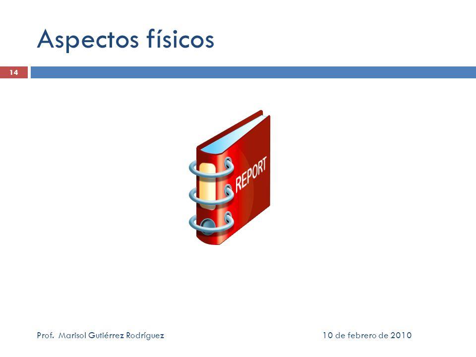 Aspectos físicos Prof. Marisol Gutiérrez Rodríguez