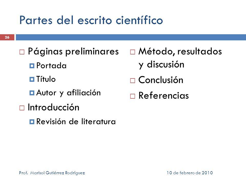 Partes del escrito científico
