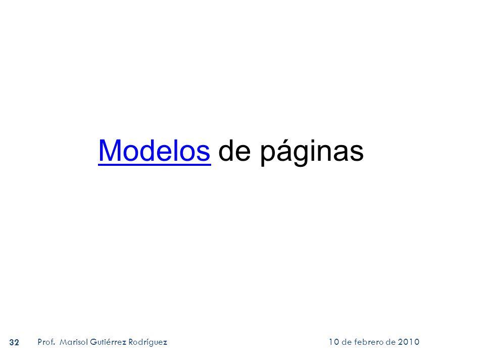 Modelos de páginas Prof. Marisol Gutiérrez Rodríguez