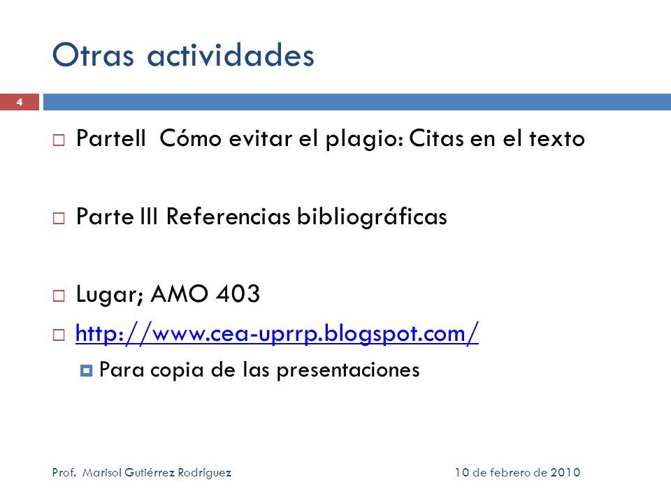 Otras actividades ParteII Cómo evitar el plagio: Citas en el texto