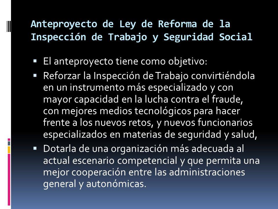 Anteproyecto de Ley de Reforma de la Inspección de Trabajo y Seguridad Social