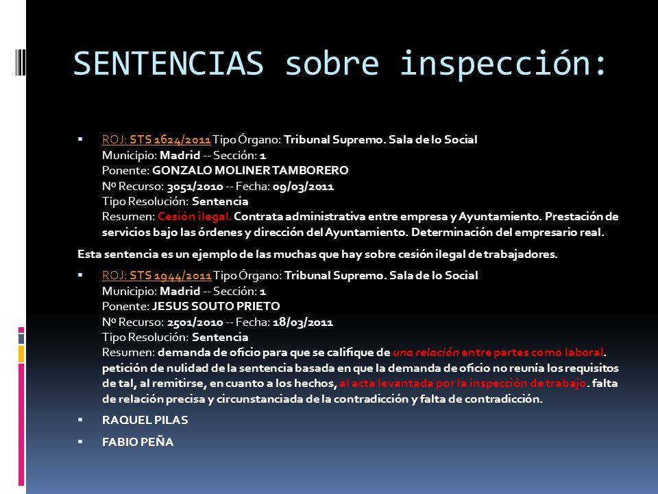 SENTENCIAS sobre inspección: