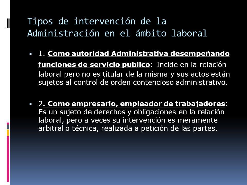 Tipos de intervención de la Administración en el ámbito laboral