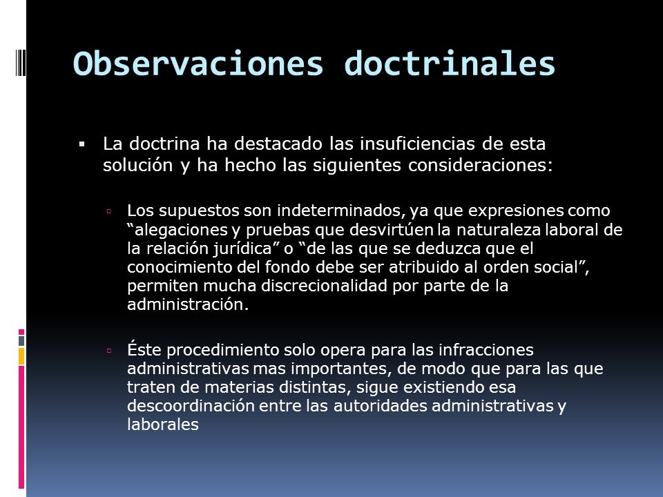 Observaciones doctrinales