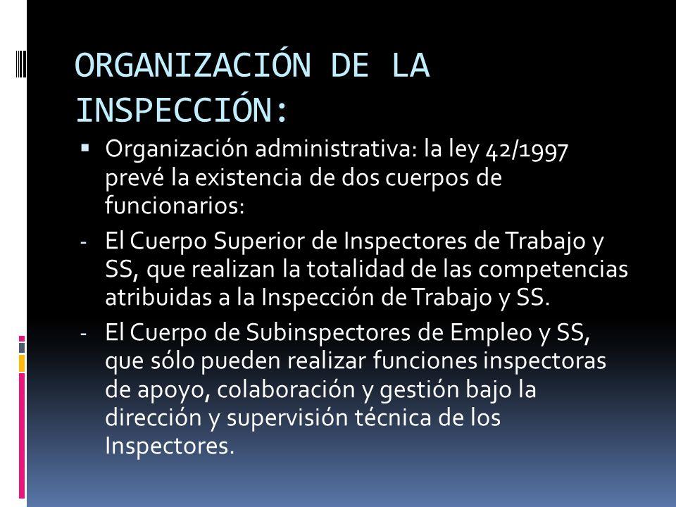 ORGANIZACIÓN DE LA INSPECCIÓN: